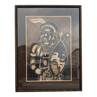 P. Sibeks, Earth-Tone Pastel of an African Warrior, Vintage For Sale