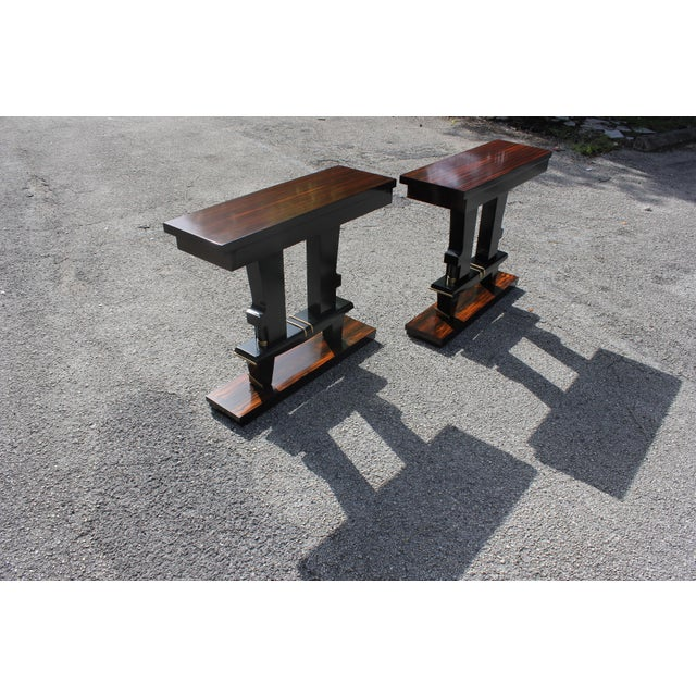 Classic Pair of French Art Deco Exotic Macassar Ebony Console Tables, Circa 1940s For Sale - Image 10 of 13