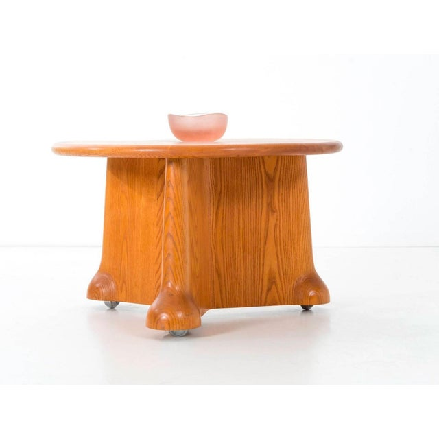 "Castle for Gannett Inc. ""Quinn Coffee Table"" carved oakwood on casters. This was an important commission for Wendell and..."