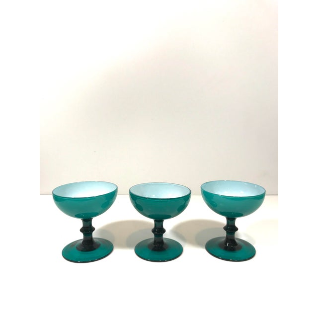 Mid 20th Century Mid 20th Century Blue Opaline Champagne Coupe Glasses - Set of 3 For Sale - Image 5 of 8