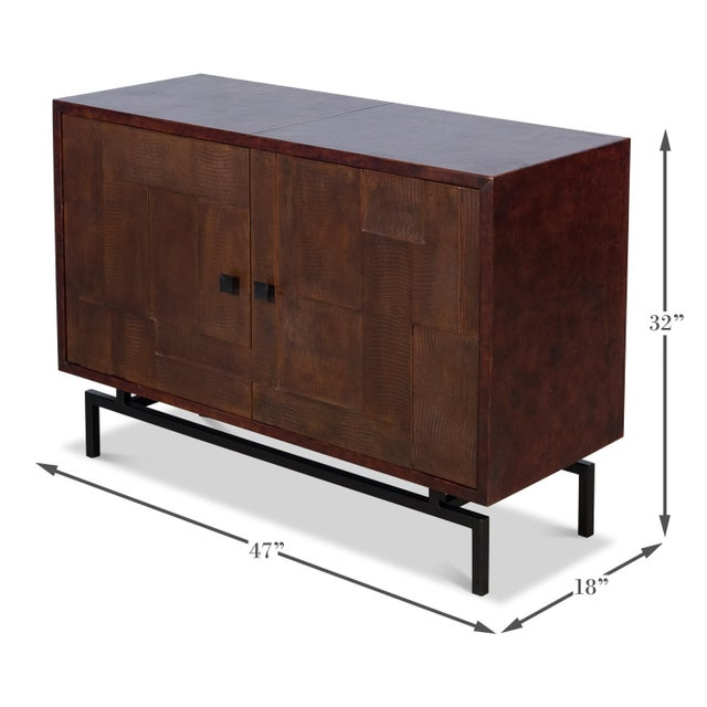 2010s Sarreid Patchwork Leather Sideboard, 2 Dr For Sale - Image 5 of 7