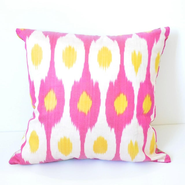 Boho Chic Pink Flower Power Throw Pillow For Sale - Image 3 of 5