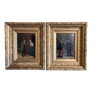 Pair of 19th Century French Oil on Canvas Paintings in Gilt Frames Signed Louis For Sale