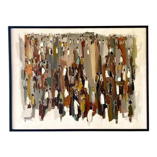 Mid-Century Abstract Oil Painting Signed Gallant For Sale