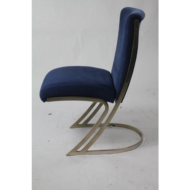 Mid-Century Modern Vintage Blue Velvet & Chrome Mid-Century Modern Dining Chairs - Set of 6 For Sale - Image 3 of 5