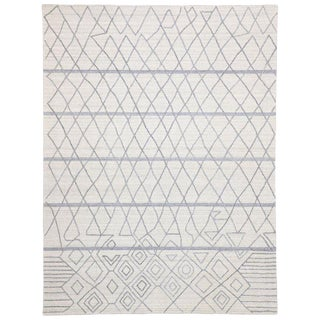 Contemporary Rug With Modern Moroccan Style Texture Area Rug - 8′11″ × 11′9″ For Sale