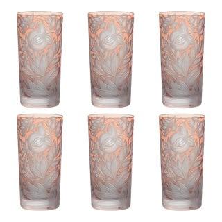 Verdure Highball Glasses, Set of 6, Salmon For Sale