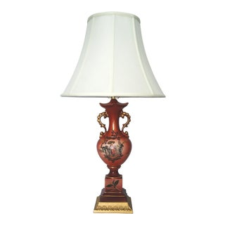 Vintage Cinnabar Red Chinoiserie Porcelain Lamp W/ New Shade For Sale