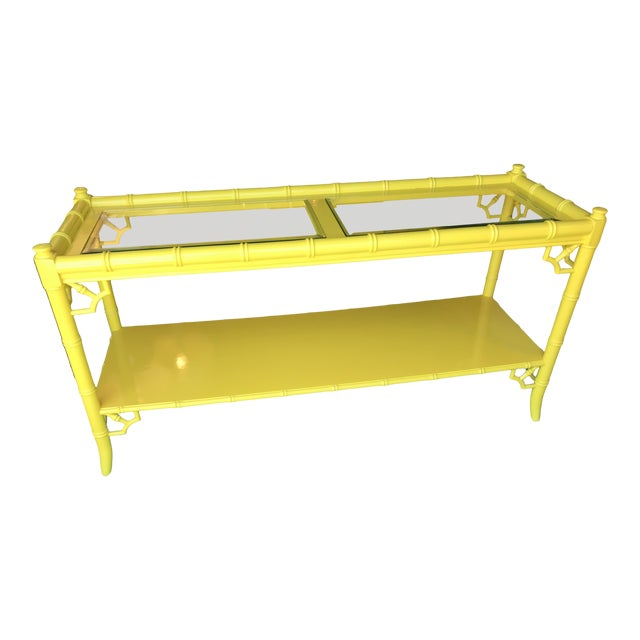 Lacquered Yellow Faux Bamboo and Fretwork Console Table For Sale