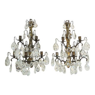 1800s Antique French Bronzed Metal and Crystal Candle Sconces - a Pair For Sale