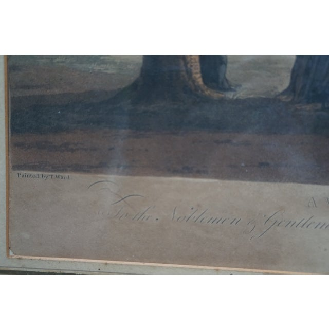 Green Early 20th Century Antique English Vauxhall Painted Engraving For Sale - Image 8 of 10