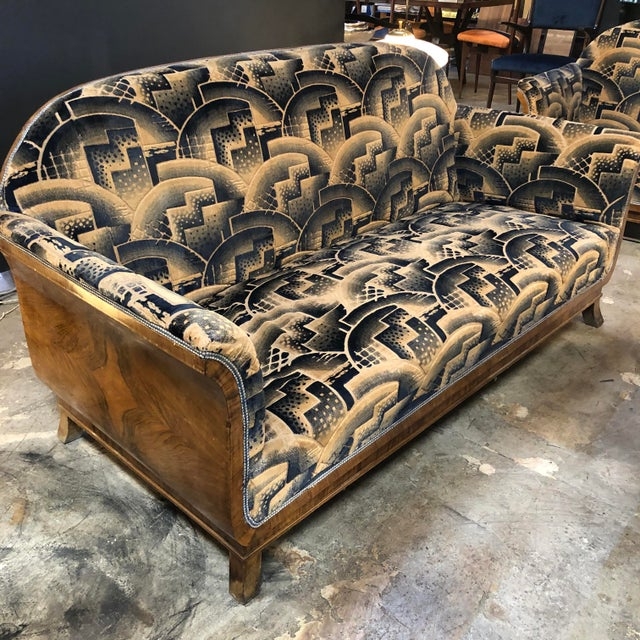 Art Deco Glamorous Art Deco Sofa and Two Chairs Suite in Cotton Velvet, Italy, 1920s For Sale - Image 3 of 12