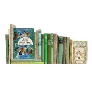 Spring Reading for Girls in Green, Set of Twenty Decorative Books For Sale