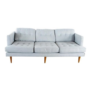 West Elm Mid Century Modern Style Gray Upholstered Three Cushion Sofa For Sale