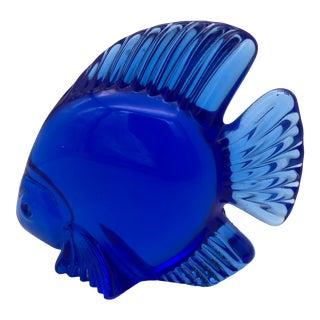 Daum France Cobalt Blue Crystal Fish Figurine For Sale