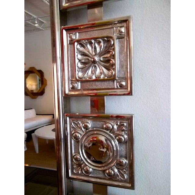 1950s Mid Century Modern Nickeled Silver Wall Mirror For Sale - Image 5 of 6