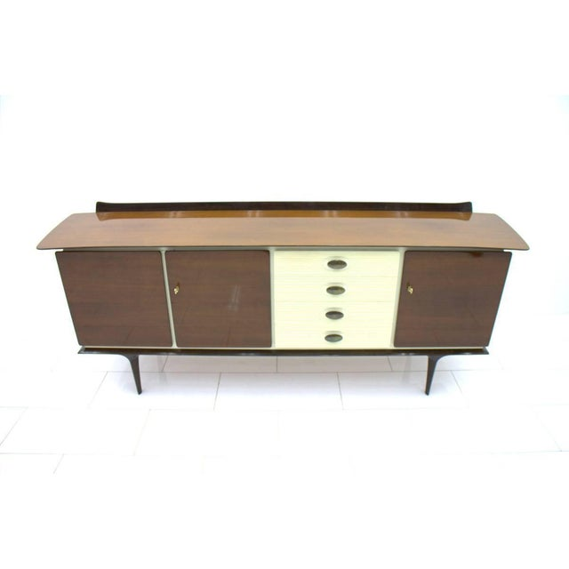 Mid-Century Modern Mahogany and Brass Sideboard, Germany 1950s For Sale - Image 3 of 10