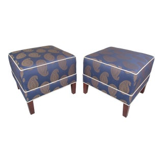 Ethan Allen Navy Blue and Gold Paisley Print Footstools-a Pair For Sale