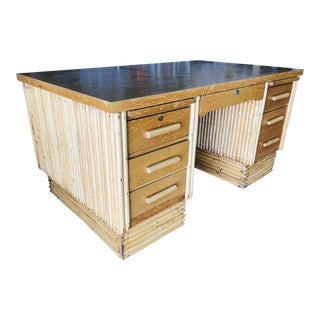 Large Rattan Executive Desk With Stacked Base and Solid Mahogany Top For Sale