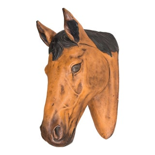 Vintage Equestrian Plaster Horse Head Sculptural Wall Mount For Sale