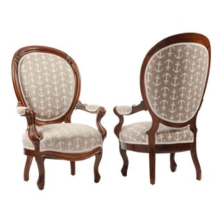 Pair of Victorian Oval-Back Mahogany Armchairs For Sale