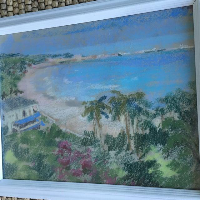 Original Oil Pastel Caribbean Coastline Seascape Framed Art - Image 4 of 10