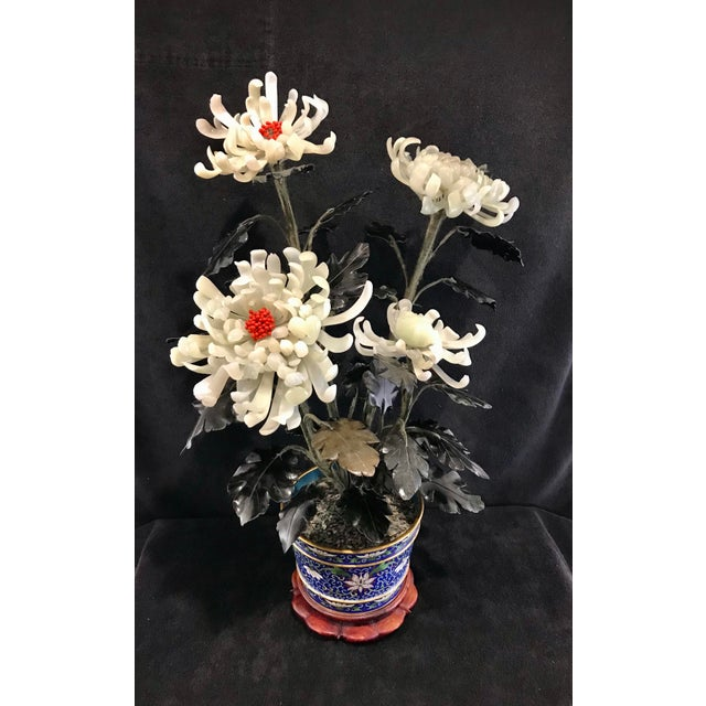An amazing large Chinese Republic Era Chrysanthemum Jade tree featuring four large flowering buds in different stages of...