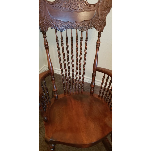 19th Century Carved Mahogany Twist Spindle Rocking Chair For Sale - Image 4 of 8