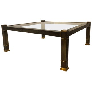 1970s Hollywood Regency Mastercraft Patinated Square Brass and Glass Coffee Table For Sale