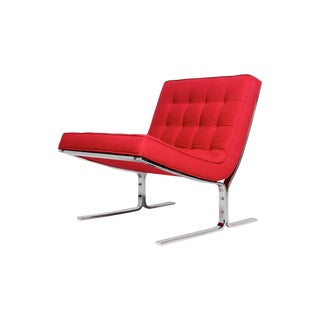 Mid-Century Red Tufted Armless Lounge Chair