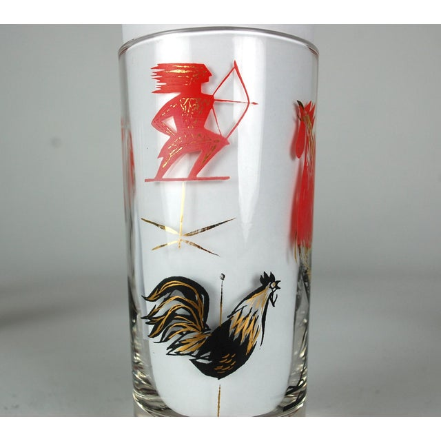 Mid-Century Rooster Highball Glasses - Set of 5 - Image 4 of 6