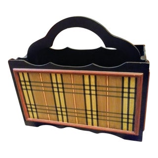 Plaid Handpainted Nova Check Tartan Wood Magazine Rack Stand For Sale