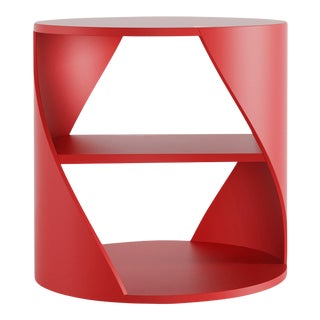 Red Decorative Nightstand, Mydna Side Table by Joel Escalona For Sale