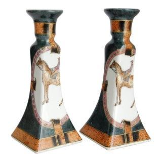 Vintage Porcelain Horse Candlesticks - a Pair For Sale