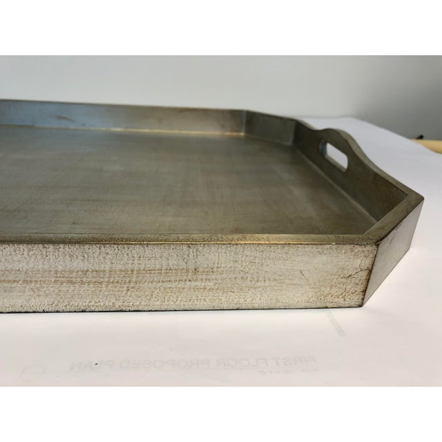 English Italian Silver Leafed Wooden Tray For Sale - Image 3 of 9