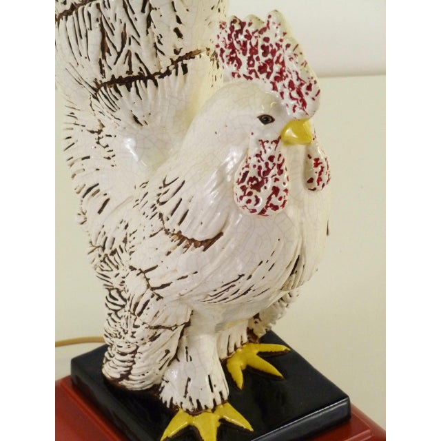 Mid Century Rooster Ceramic Table Lamp, 1940s For Sale - Image 9 of 10