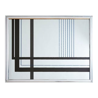 Graphic Postmodern 1980s Op Art Printed Geometric Wall Mirror