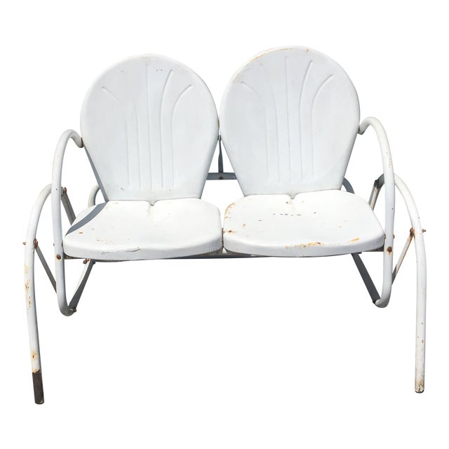 Vintage 1950's Bellaire Outdoor Metal Double Glider For Sale