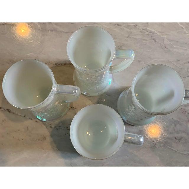Mid-Century Fenton Federal Iridescent White Carnival Glass Tavern Scene Stein/Mug - Set of 4 For Sale In Minneapolis - Image 6 of 9