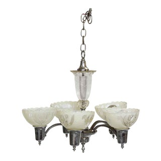 Five Light Chrome Chandelier With Glass Shades For Sale