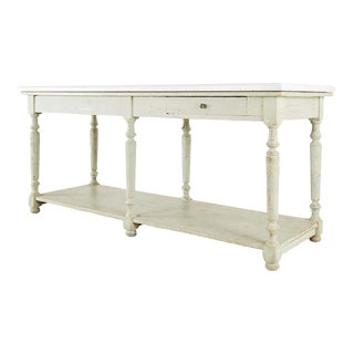 French Marble-Top Bakers Table or Kitchen Island For Sale