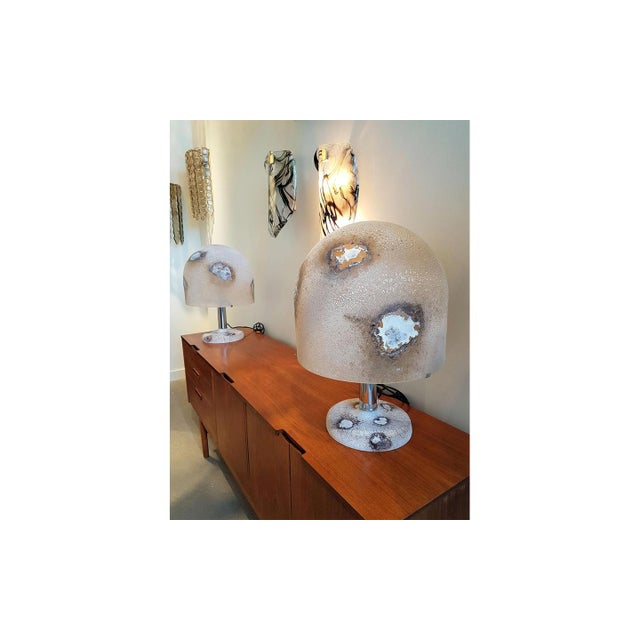 Alfredo Barbini Pair of Alfredo Barbini Murano Glass Lamps For Sale - Image 4 of 6