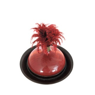 The Emporer's Red Hat - Bob Kopec Decorative Feather and Wood Sculpture For Sale