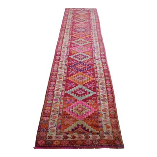 1970s Vintage Hand Knotted Colorful Tribal Runner For Sale
