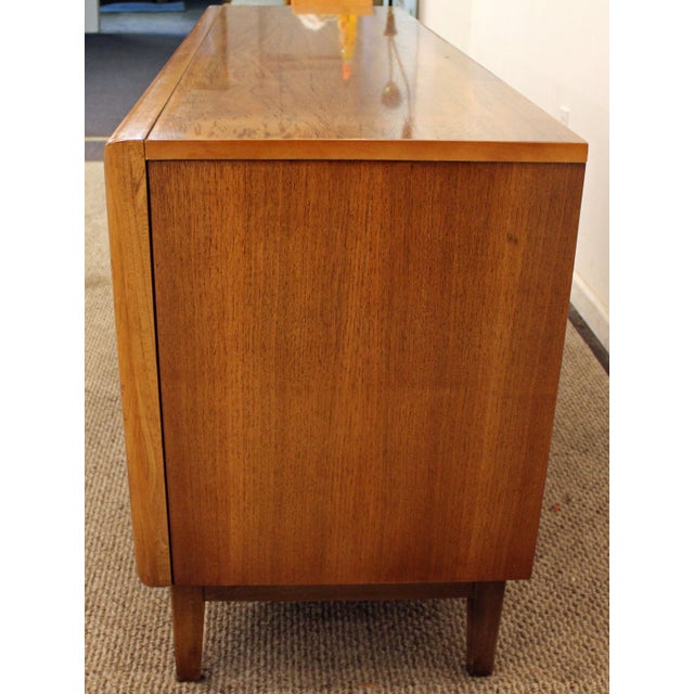Mid-Century Danish Modern 3D Diamond Front Walnut Credenza For Sale - Image 5 of 11