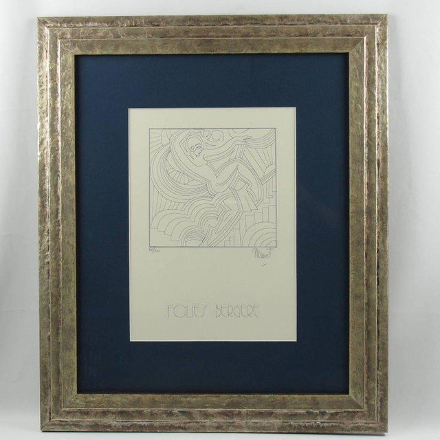 Limited edition blue ink lithograph by Patrick Lionnet, France, 1989. Featuring the iconic Art Deco design representing...