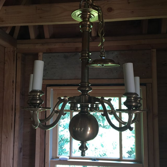 Gold Brass Chapman Chandelier For Sale - Image 8 of 10