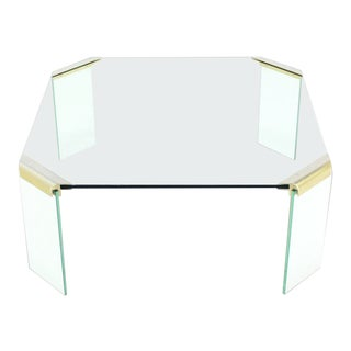 Vintage Mid Century Square Glass Top Coffee Table For Sale
