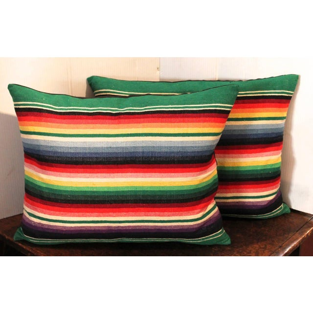 These serape weaving pillows are so wonderful and just amazing colors. Sold as a pair and have black cotton linen...