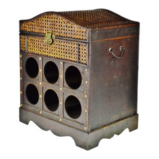 Vintage Wood and Wicker 6 Bottle Wine Rack With Storage For Sale